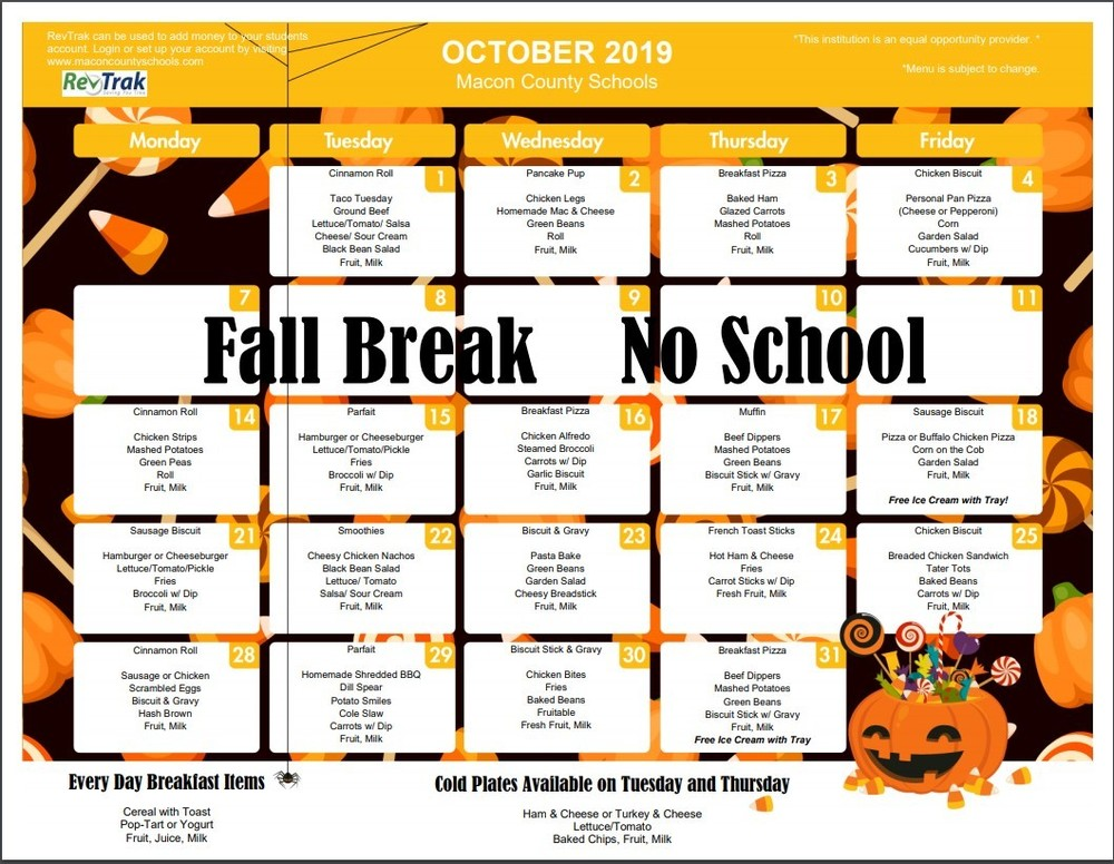 October's School Breakfast and Lunch Menu