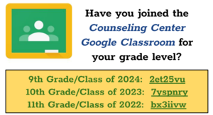 Counseling Center Google Classroom Info