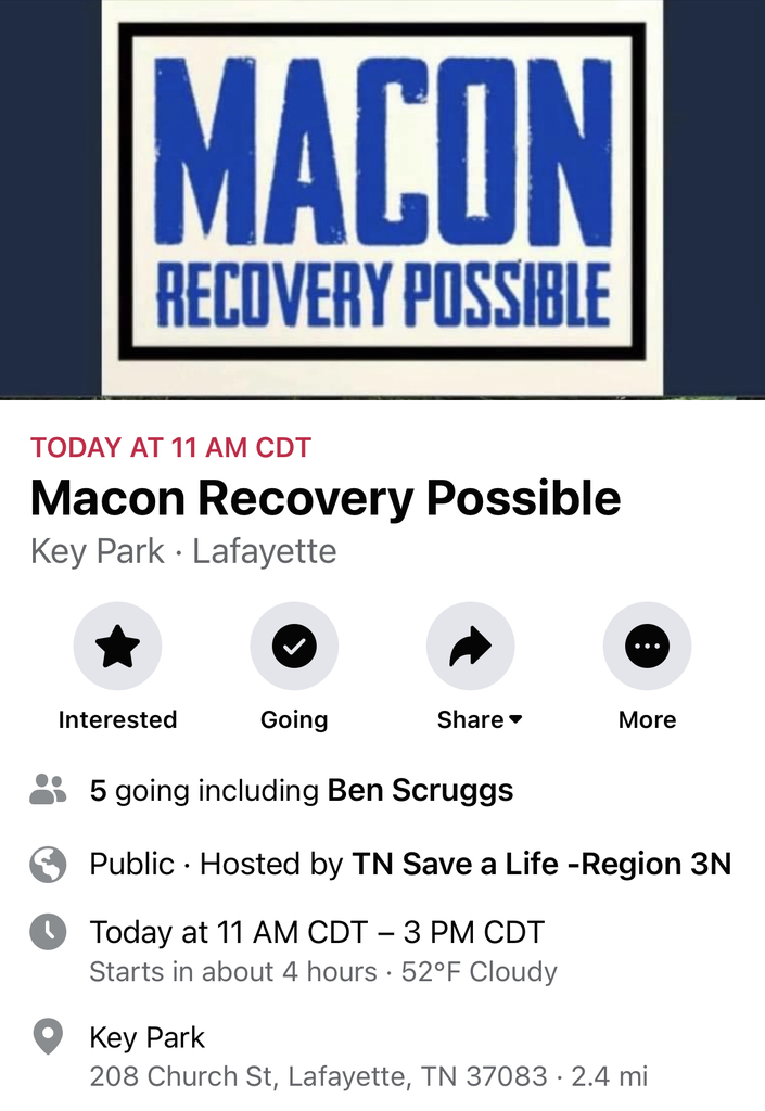 Macon Recovery event info