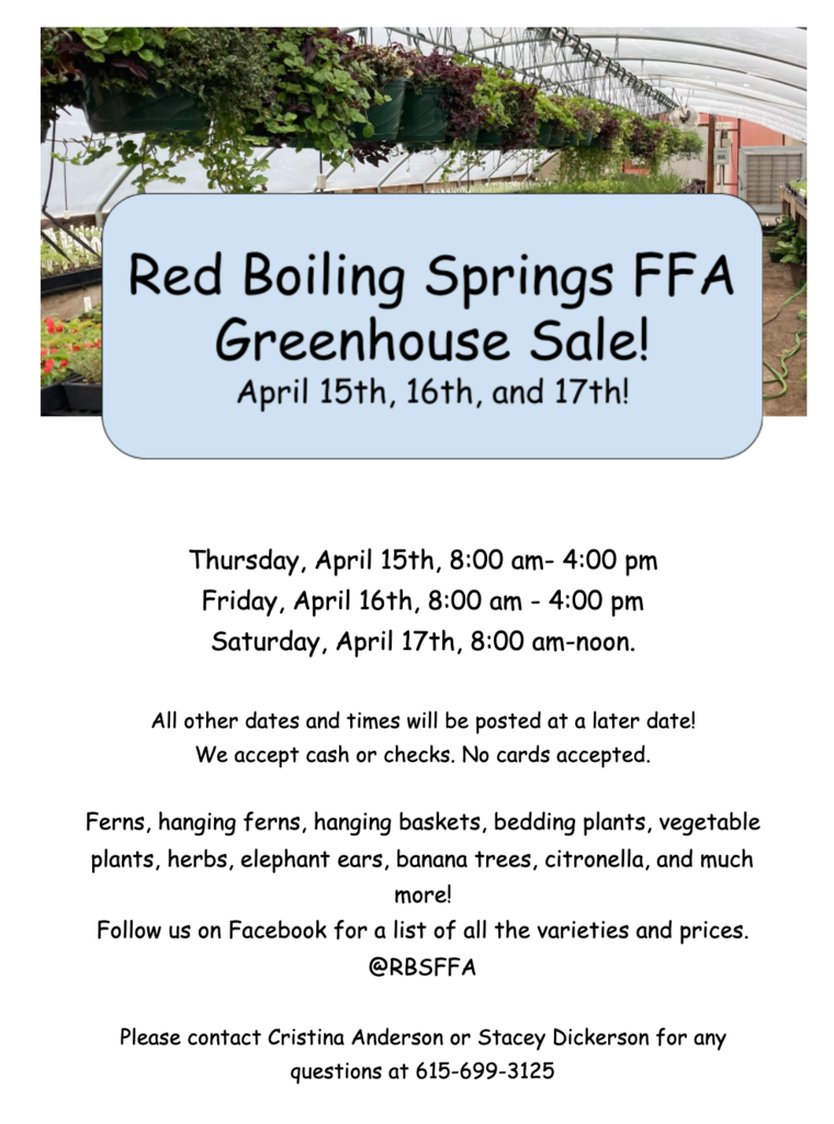 RBS FFA Greenhouse Sale