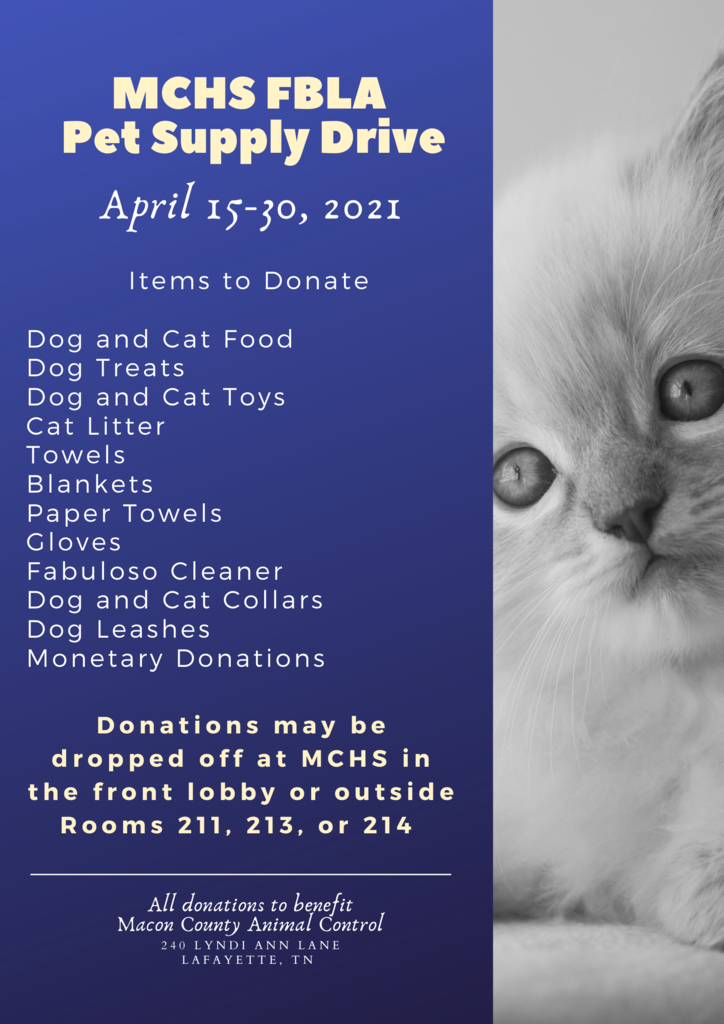 MCHS FBLA Pet Supply Drive