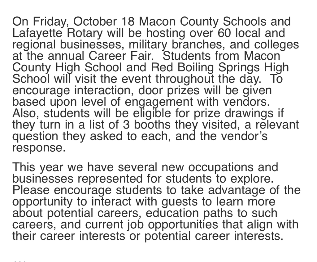 Career Day Info