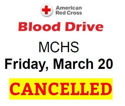 Blood Drive Cancelled
