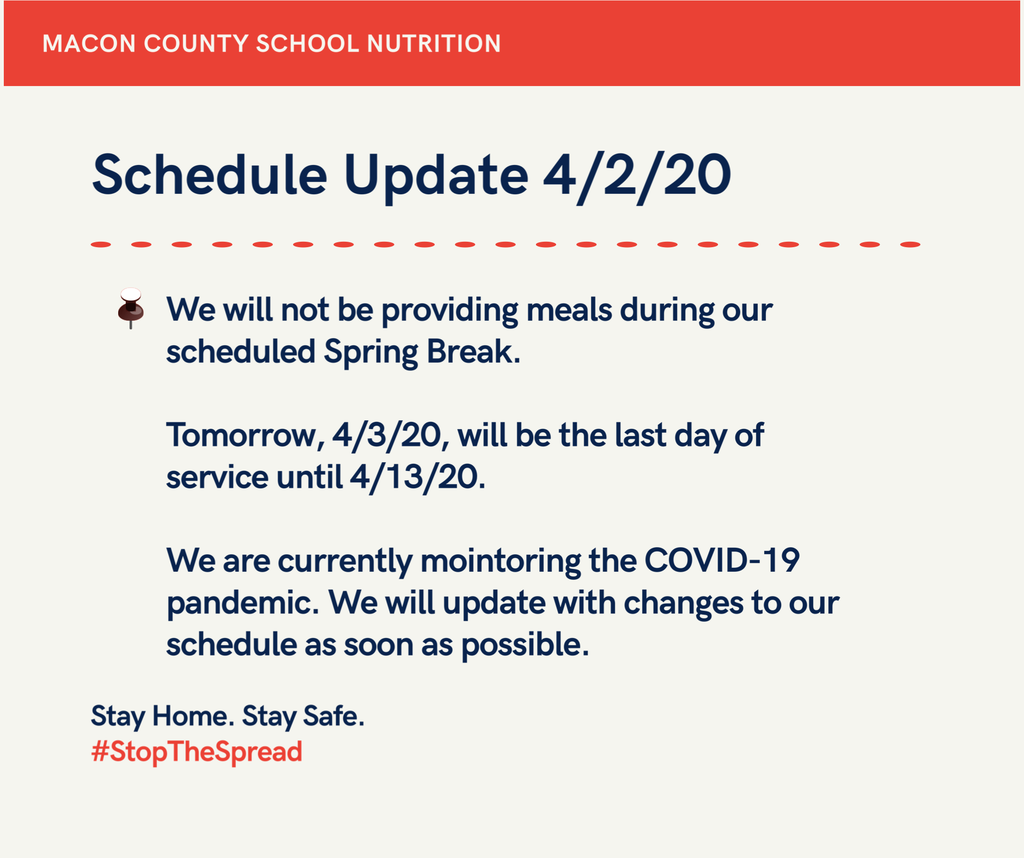 Food Service update flyer