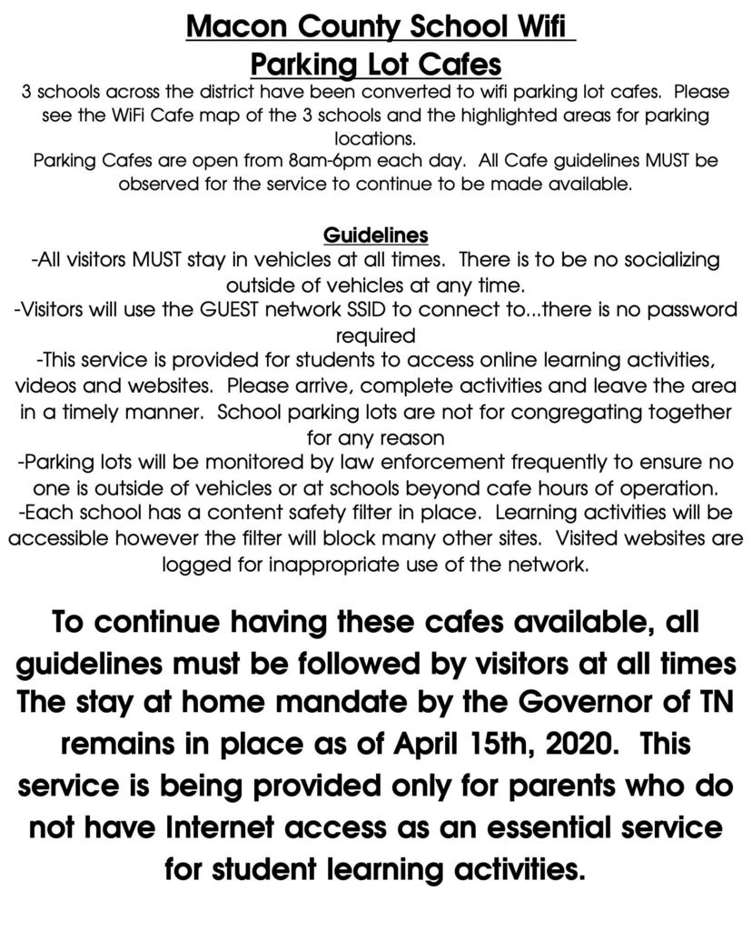 Cafe Guidlines